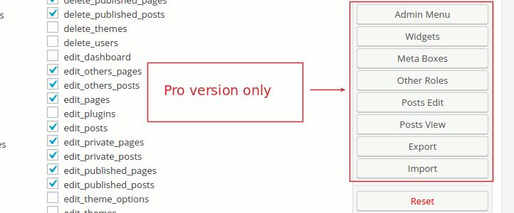 User Role Editor Pro Toolbar