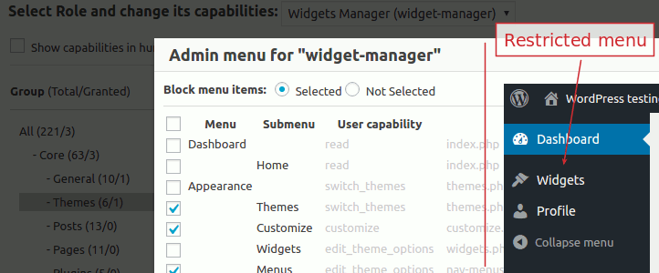User Role Editor Pro - Block admin menu items