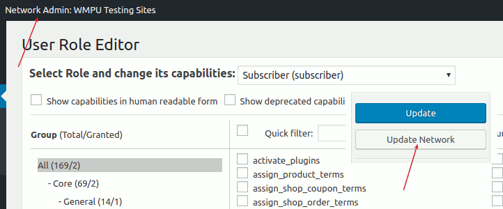 User Role Editor Pro - Network Update (multisite)
